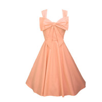Classic Swing Circle Dress Coral Peach Bespoke Bow 1950s 1940s Vintage Retro - Bridesmaid Wedding - Lots of other colours available!