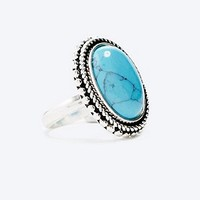 Turquoise Stone Ring in Silver - Urban Outfitters