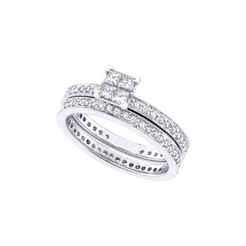14kt White Gold Womens Princess Diamond Eternity Bridal Wedding Engagement Ring Band Set 1 Cttw