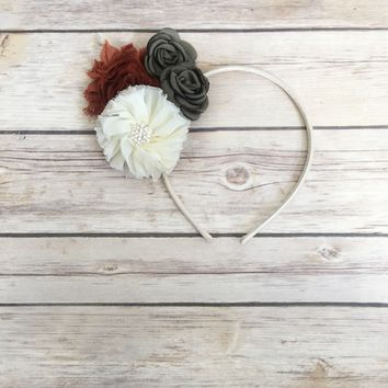 Ivory, rust and olive green hard headband