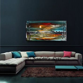 PAINTINGS, Abstract Landscape Wall Art Modern Oil Paintings Teal Turquoise Orange Sunset Mountain View Contemporary Tree Art Home Decor