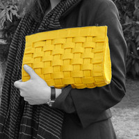 The PRAGUE Bag - Yellow Felt Knitted Clutch