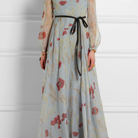 Valentino - Belted floral-print silk-chiffon gown