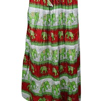 Womans Summer Beach Skirt Elephant Print A-Line Boho Gypsy Maxi Skirts M: Amazon.ca: Clothing & Accessories