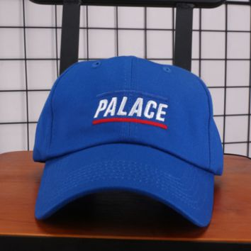 PALACE New fashion embroidery letter couple baseball hat sunscreen cap Blue