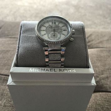 DCK4S2 NEW AUTHENTIC MICHAEL KORS SAWYER CRYSTALS SILVER WOMEN'S MK6281 WATCH NWT $450