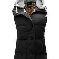 Thanth Womens Padded Puffer Active Bodywarmer Vest with Detachable Hood Olive Medium