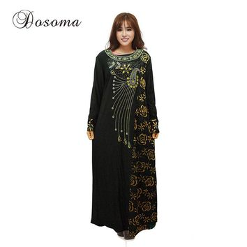 Islamic Embroidery Diamond Gown Dress Muslim Flower Women Abaya Sleeve Clothing Robe Turkey Kaftan Instant Hijab Arab Turkish