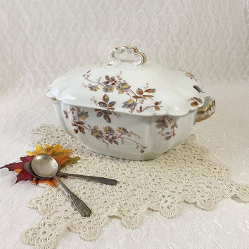 Haviland & Co Limoges Large Soup Tureen, Gray and Yellow Flowers with Gold Triim, Vintage Covered Vegetable Bowl