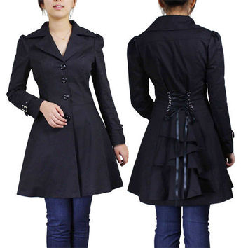 Corset Back Flared Long Black Trench Coat Jacket Victorian Bustle Gothic Goth