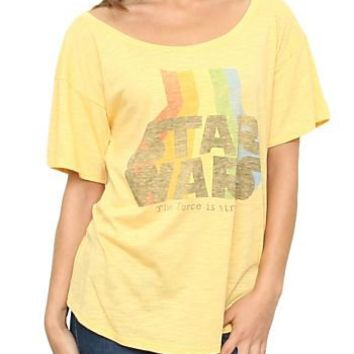 Junk Food Star Wars The Force Is Strong Vintage Inspired Slub Heartbreaker Off the Shoulder Citron Yellow Juniors T-shirt - Star Wars - | TV Store Online