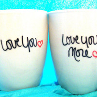 Love You More - Set of 2 Mugs ((Hand Drawn Design))