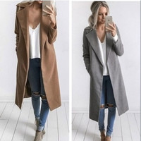 Notched Collar Long Blazer