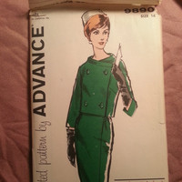 Uncut 1960's Advance Sewing Pattern, 9890! Size 16 Medium/Women's/Misses/Bishop Method/Straight Skirts/Lined Jackets/Double Breasted