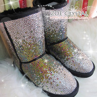 PROMOTION WINTER Bling and Sparkly Strass SheepSkin Wool BOOTS w shinning Czech or Swarovski Rainbow crystal