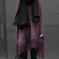 Scoop Neck Long Sleeves Knitted Tassels Cloak Design Sweater