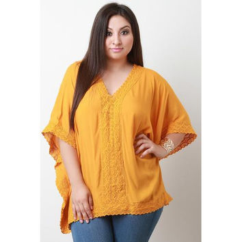 V-Neck Crochet Panel Poncho Top