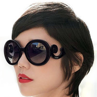 Women Ladies Fashion DesignRetro Inspired Baroque Round Sunglasses glasses = 1946238084