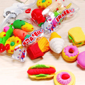 Free Shipping Novelty Big Fruit Cuisine Shape Eraser Rubber Eraser Primary School Student Prizes Promotional Gift Stationery