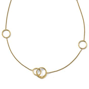 14k Yellow Gold Polished Circle Link Station Necklace, 16-18 Inch