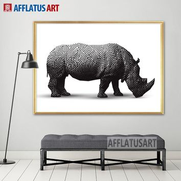 AFFLATUS Black White Geometric Rhino Nordic Poster Canvas Painting Wall Art Posters And Prints Wall Pictures For Living Room