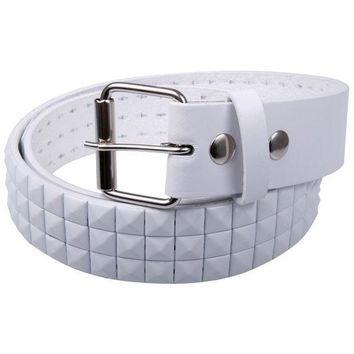 PEAPGQ9 White Studded Leather Belt