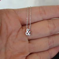 SALE Tiny Silver Ampersand Necklace...Small & Necklace...Monogram jewelry...minimalist bridal party jewelry gift idea birthday