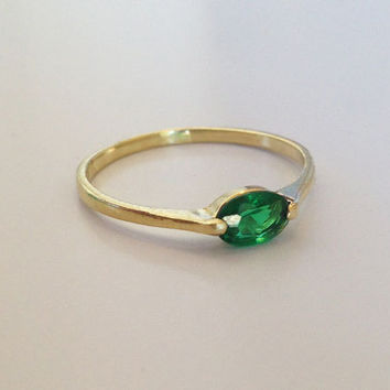 20% off-SALE!! ,Emerald Ring - Thin Stackable Ring - Gemstone Ring - Stacking Ring - Green Ring - Bridal Ring - Gold Ring