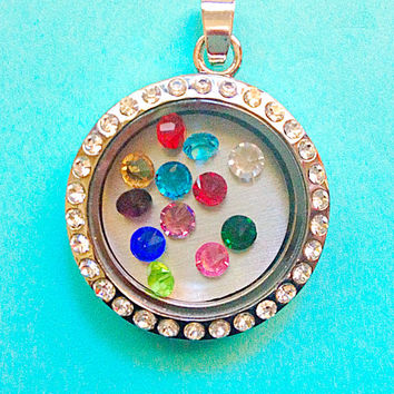 Birthstone Charm for Memory Lockets, Living Lockets, Floating Lockets, Glass Lockets, Origami Owl Lockets- 4mm Crystals-BC
