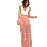 Pink Totally Timeless Damask Lace Skirt