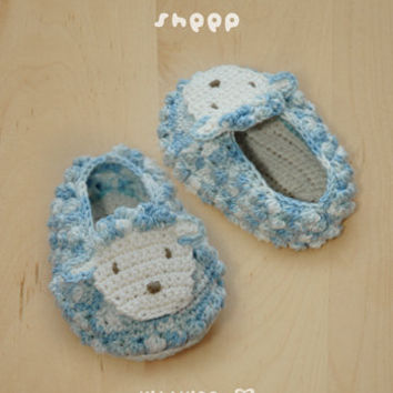 Sheep Baby Booties Crochet PATTERN, SYMBOL DIAGRAM (pdf)