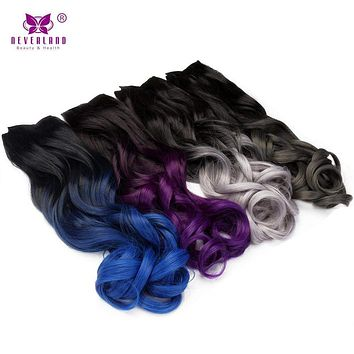 "Synthetic Ombre Curly Wavy 24"" 5 Clips Clip-in Hair Extensions"