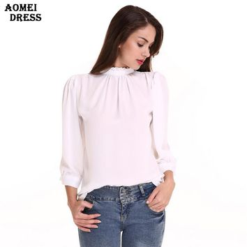 Women New Ruffles Chiffon Blouse White Color Girls Office Lady Body Shirts Women Clothing