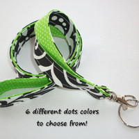 Lanyard  ID Badge Holder - Lobster clasp and key ring - design your own - black damask - green pin dots - two toned double sided