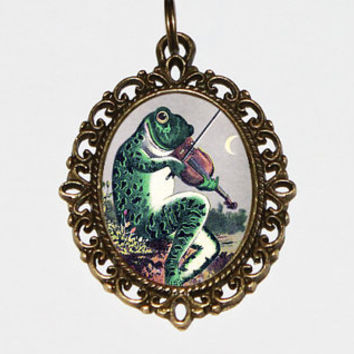 Frog Necklace, Violin, Animal Jewelry, Frogs, Fiddle, Bronze Oval Pendant