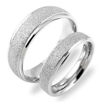 Beautiful Wide 6mm Sweetheart  Stainless Steel, White Scrub Pear Wedding Rings For Women.