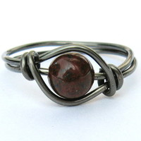 Gunmetal Red Poppy Jasper Gemstone Ring Custom Size | Luulla
