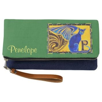 Hybrid Winged Cat Monogram P and Your Name Clutch