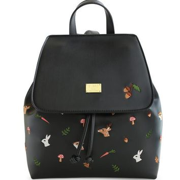 ENSSO Cartoon Vintage Animal Print Deer Black PU Leather Squirrel Rabbit Embroidery Women's Shoulder Satchels Backpack Book Bags