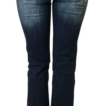 LMFYW3 Soundgirl Dark Blue Patched Up Cuffed Jeans