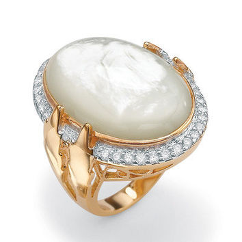 Palm Beach Jewelry 14k Gold Plated Mother-of-Pearl and Cubic Zirconia Ring