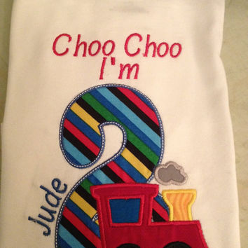 Choo Choo I'm 2 Train Birthday Shirt