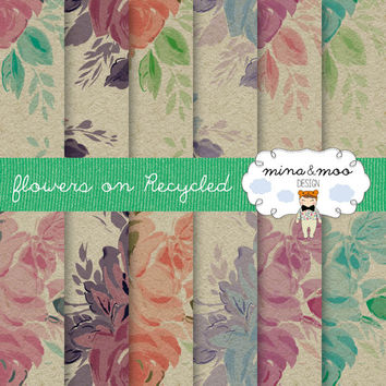 Flowers on Recycled paper, flowers digital papers