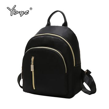 YBYT brand new nylon casual women rucksacks preppy style black small bags girls student school bookbags ladies travel backpacks