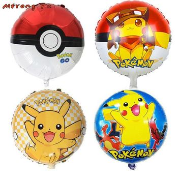 10pcs Cartoon Pikachu  GoHelium Foil helium Balloons for Children birthday party baby shower decorations kids toysKawaii Pokemon go  AT_89_9