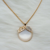 Long gold necklace with a white jade apple pendant,Gold plated necklace,Long necklace,Fashion necklace,Prom necklace,Unique necklace,gift