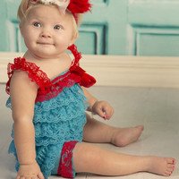 Embellish Your Own Cat Petti Romper-Birthday Girl Petti Lace Romper- Petti ROMPER-Cake Smash-Turquoise Red Petti Romper-Photo Props