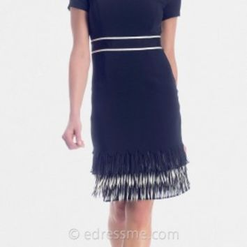 Black Organza Fringe Cocktail Dresses from NUE by Shani