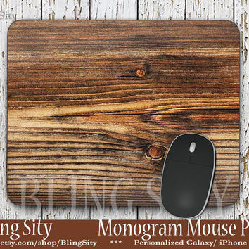 Dark Wood Print Mouse Pad, Faux Wood Grain  Mousepad Custom Personalized Mouse pad Monogrammed Coasters