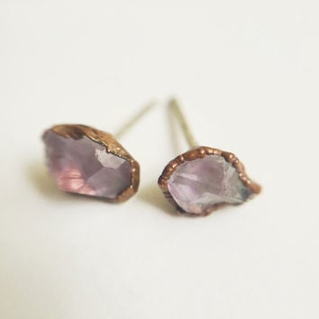 Amethyst Stud Earrings // Amethyst Crystal Stud Earrings // February Birthstone Earrings // Raw Crystal Stud Earrings